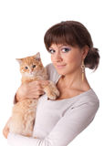 Young woman with a kitten. Royalty Free Stock Images