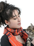 Young woman with kitten Royalty Free Stock Photography