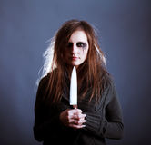 Young woman with knife stock images