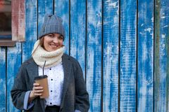 A young woman in a knitted hat stock image