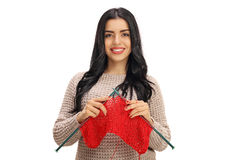 Young woman knitting Royalty Free Stock Image