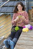 Young woman knitting Royalty Free Stock Photography