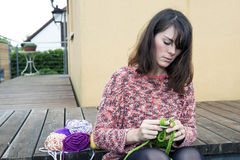 Young woman knitting Royalty Free Stock Photo