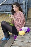 Young woman knitting Stock Image