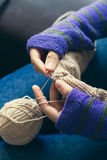 Young woman knitting wool Stock Photo