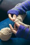 Young woman knitting wool Stock Photo