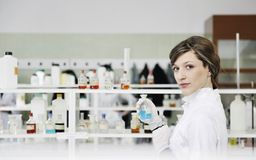 Young woman in lab Royalty Free Stock Image