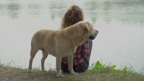 Young woman and labrador near the river stock footage