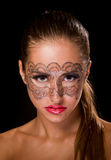 Young woman with lace makeup Royalty Free Stock Photo
