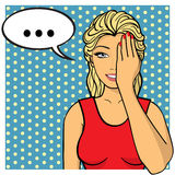 Young woman, lady with palm on her face. Comics style. Young woman,lady with palm on her face. Vector illustration. Pop art comics style Stock Photos