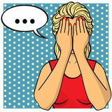 Young woman, lady with palms on her face. Comics style. Young woman,lady with palms on her face. Crying girl in red dress. Vector illustration. Pop art comics Stock Images