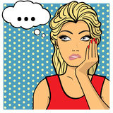 Young woman, lady shows dreaminess, muse. Comic style. Young woman,lady shows dreaminess, muse. Vector illustration. Pop art comic style Royalty Free Stock Image