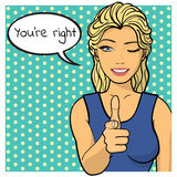 Young woman, lady shows you're right sign. Comics style Royalty Free Stock Photography