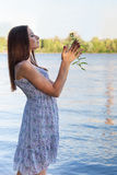 Young woman at the lake Stock Photos