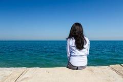 Young Woman at Lake Michigan Stock Images