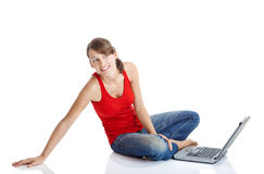 Young woman with a laptop Stock Photos