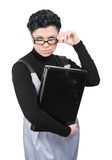 Young woman with laptop. Young woman in glasses holding laptop isolated on white background stock photography