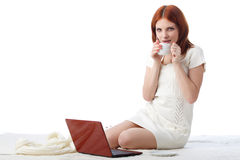 Young woman with a laptop. Royalty Free Stock Images