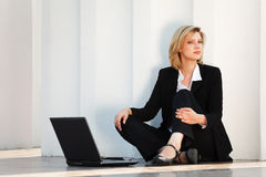 Young fashion business woman with laptop  Stock Image