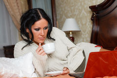 Young woman with laptop. Royalty Free Stock Photography