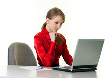 Young woman with laptop. Working at office Royalty Free Stock Photo