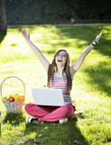 Young woman with the laptop Royalty Free Stock Images
