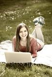 Young woman with the laptop Royalty Free Stock Photos