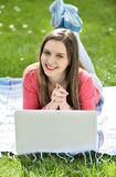 Young woman with the laptop Stock Photo