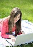 Young woman with the laptop Stock Photos