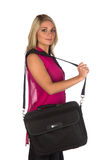 Young woman with laptop case Royalty Free Stock Photo