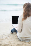 Young woman with laptop on cold beach. rear view Stock Photo
