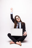 Young woman with laptop computer celebrating success Royalty Free Stock Photos