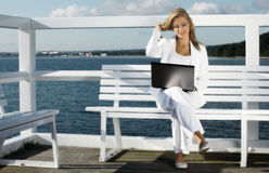 Young woman with laptop Stock Image