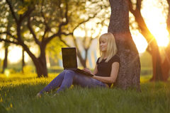 Young woman with laptop sitting on green grass in the park at sunset Royalty Free Stock Photos