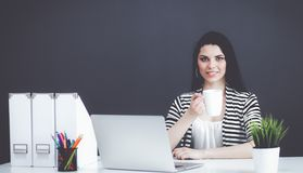 Young woman with a laptop sitting isolated on grey background. Portrait of young woman with a laptop sitting isolated on grey background Royalty Free Stock Images