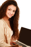 Young woman with a laptop sitting isolated on Stock Photo