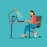 Young woman with laptop vector illustration in flat style design. Stock Photo