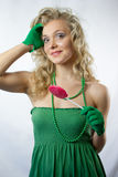 Young woman with large lollipop Royalty Free Stock Photography