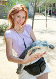 The young woman with a large turtle in hands Stock Image