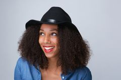 Young woman laughing with hat Royalty Free Stock Images