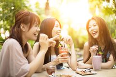 Young woman laughing in restaurant Stock Image