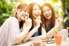 Young woman laughing in restaurant Royalty Free Stock Images