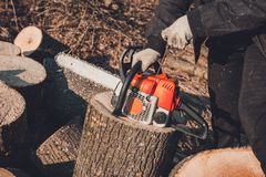 A young woman launches a chainsaw for cutting wood in the countryside. 2019 stock photography