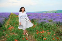 Young woman is in the lavender field, beautiful summer landscape with red poppy flowers Stock Photography