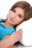 Young woman layin on couch Stock Photo