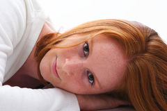 Young Woman Laying Stock Photo