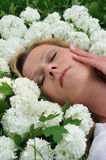 Young woman laying in flowers - snowballs Stock Photography