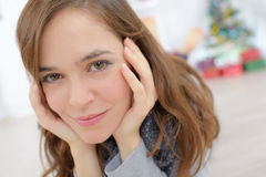 Young woman lays on floor. Young woman lays on the floor royalty free stock image