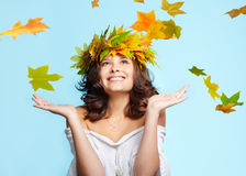 Young woman and leaf fall Stock Image