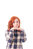 Young woman leaning on her hands, isolated over white background Royalty Free Stock Photos